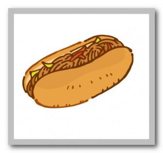 焼きそばパンの無料イラスト | かわいいイラストならイラストレイン