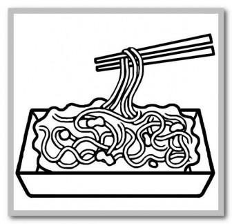 焼きそば(白黒)/屋台・出店メニューの無料イラスト/バザー/園の行事/保育素材