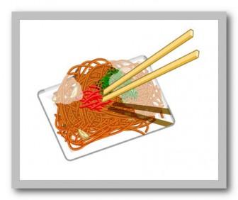焼きそばのイラスト02 かわいいイラストフリー素材 イラスト無料 素材のプチッチ