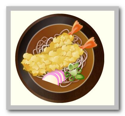 天ぷら蕎麦・天ぷらうどんのイラスト:無料画像の素材屋花子