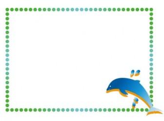 イルカの枠・フレームイラスト素材   イラスト無料・かわいいテンプレート