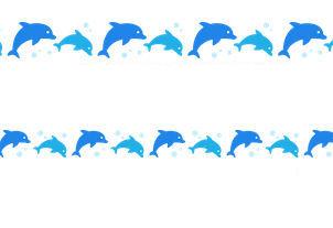 イルカ(ドルフィン)のライン飾り罫線イラスト