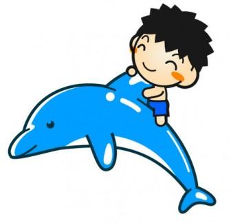 イルカにのる子供のイラスト |かわいいフリー素材、無料イラスト|素材のプチッチ