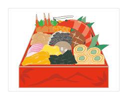 お節料理/おせち|冬 フリー イラスト 素材