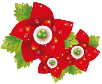[フリーイラスト素材] クリップアート, ポインセチア, 花, 植物, 赤色の花, EPS ID:201412161000 - GATAG|フリーイラスト素材集