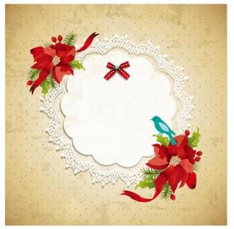 [フリー素材] ポインセチアとクリスマスカードのイラスト (cc-library010006762)   CCライブラリー 【フリー素材集】
