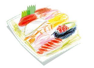 介護現場で使えるフリーイラスト集・お寿司
