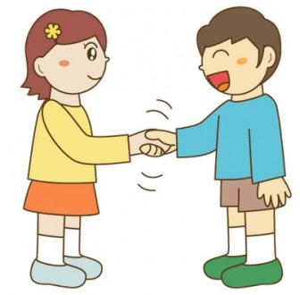 幼稚園児のイラスト・絵カード:握手のイラスト・絵カード素材