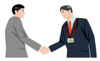 男性ビジネスマン同士が握手する社員イラスト