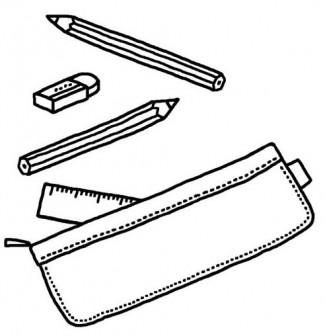 筆入れ・鉛筆・消しゴム(白黒)/文房具・学用品の無料イラスト/学校素材