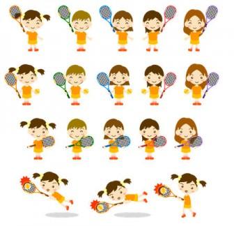 クラブ活動(サークル)/テニス(女子)のイラスト|フリー素材(印刷、プリント)|素材のプチッチ