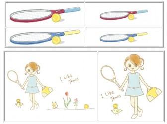 テニス素材Tシャツ「テニス大好き素材屋さん」イラスト1
