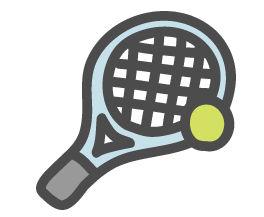 テニス(ラケット・ボール)のかわいい手書き風イラストアイコン