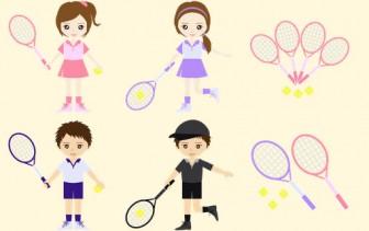 【イラスト素材】硬式テニスをする男女を配布