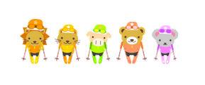 冬の無料イラスト:スキーとかわいい動物達|フリー素材|素材のプチッチ