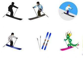 スキーの無料イラスト