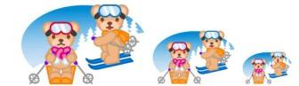 フリー素材・無料イラスト-スポーツ(季節・イベント)-ウインタースポーツのイラスト(スキー)