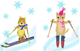 スノボー スキー 冬のイラスト素材 無料テンプレート