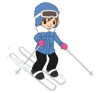 楽しそうにスキーをする男性イラスト_部活・スポーツ素材