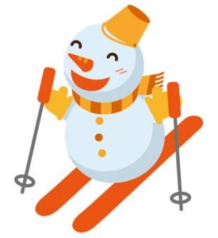 冬 かわいいイラスト 無料 フリー「スキーをする雪だるま」34776 -素材Good