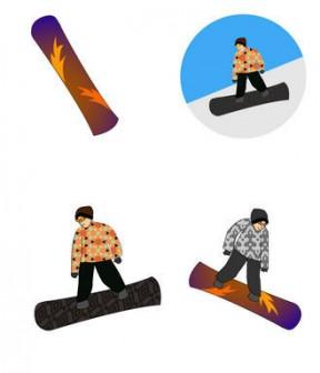 スノーボードの無料イラスト
