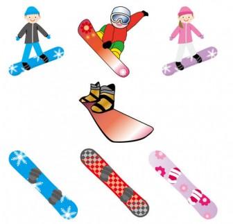 [フリーイラスト] 7種類のスノーボードとスノーボーダーのセットでアハ体験 - GAHAG | 著作権フリー写真・イラスト素材集