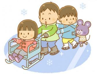 アイススケートをする子どもたちのイラスト(ソフト)