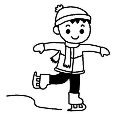 スケート1/冬のスポーツ/冬の季節・行事/無料【白黒イラスト素材】