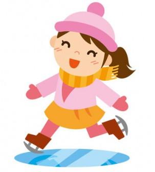 冬 かわいいイラスト 無料 フリー 「スケートをする女の子」34703 -素材Good