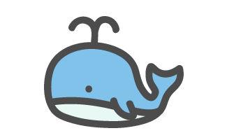 鯨(クジラ)のかわいいアイコンイラスト