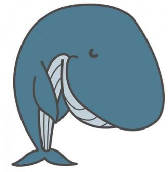 お辞儀する鯨(会釈)し『いらっしゃいませ』と挨拶イラスト