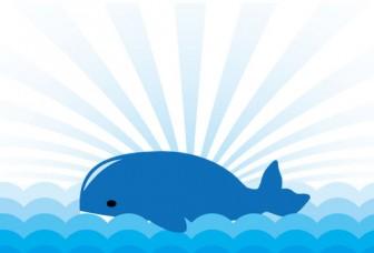 海に浮かぶクジラのイラスト   【無料配布】南国イラスト ai epsイラレ素材 ダウンロードページ
