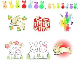 うさぎ兎ウサギ干支卯のイラスト背景素材