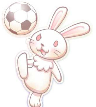 サッカーボールで遊ぶ兎イラスト素材(見本) | KMsys卯年賀状イラスト素材集