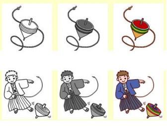 こま回し・獅子舞/年賀状・お正月/無料イラスト/冬の季節・行事のイラスト素材