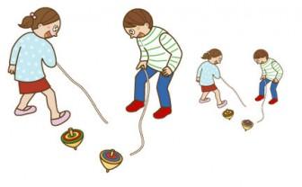 幼稚園児のイラスト・絵カード:こま回しのイラスト