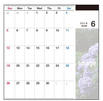 2016年度版卓上ギャラリー/CDサイズカレンダー/卓上カレンダーテンプレート
