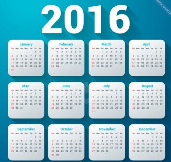 2016カレンダーテンプレート ベクター画像 | 無料ダウンロード