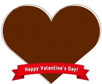 【バレンタイン】リボン付きハート型のフレーム飾り枠イラスト<チョコレート・ピンク>