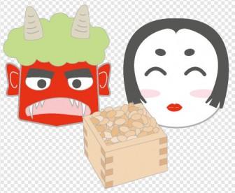 節分/鬼/お多福|illustration