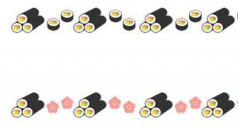 【2月/節分】恵方巻き(太巻き寿司)のライン飾り罫線イラスト