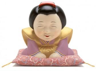 お多福イラスト 金色の裃で正座しお辞儀をする日本髪の女性福助お多福イラスト