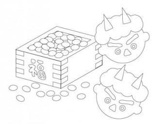 ぬりえ素材・節分の豆と青鬼 | イラスト無料・かわいいテンプレート
