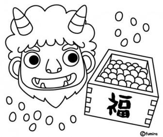 豆まき鬼(ぬりえ)