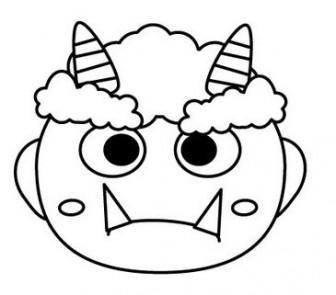 節分の赤おにのお面【鬼】(塗り絵バージョン)のイラスト画像【無料こどもイラスト図鑑】