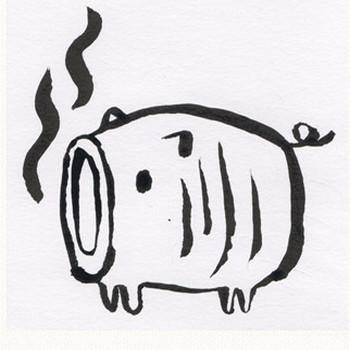 豚の蚊取り線香[蚊取り豚]のイラスト: 手書きの無料イラストとフリー素材屋byまい