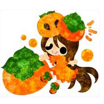 フリーのイラスト素材「柿のドレスを着た少女のイラスト」 Free Illustration... | 柿、ドレス、素材