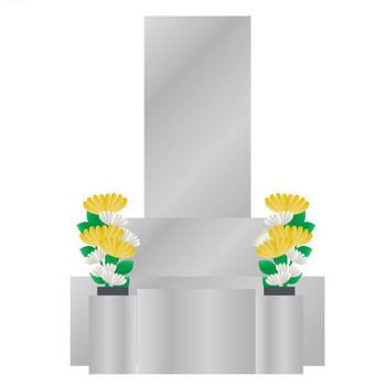[無料イラスト] 菊が供えられたお墓 - パブリックドメインQ:著作権フリー画像素材集